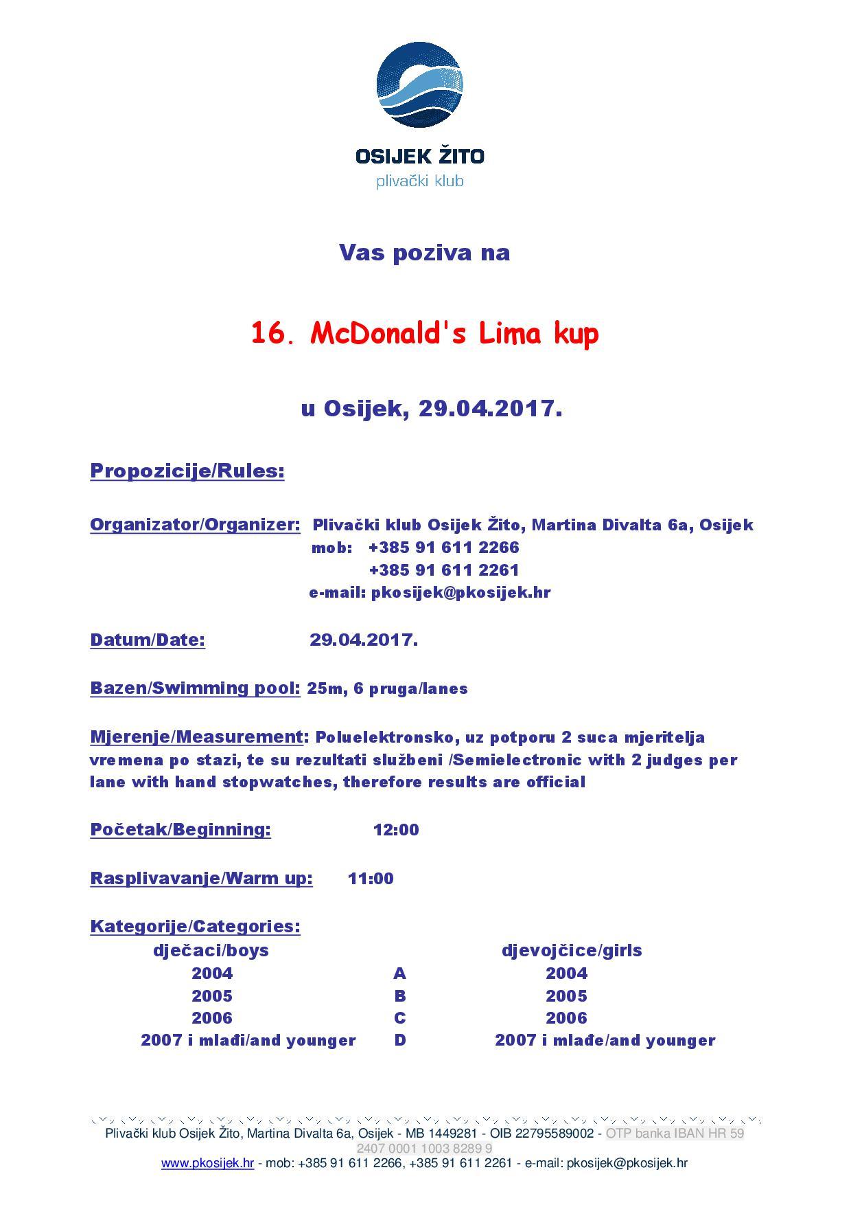 16. McDonald's Lima kup 2017 (CRO) - Прва страница пропозиција (у JPG формату)