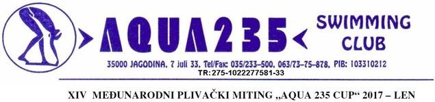 """Znak plivačkog kluba """"Aqua 235"""" i datog takmičenja"""