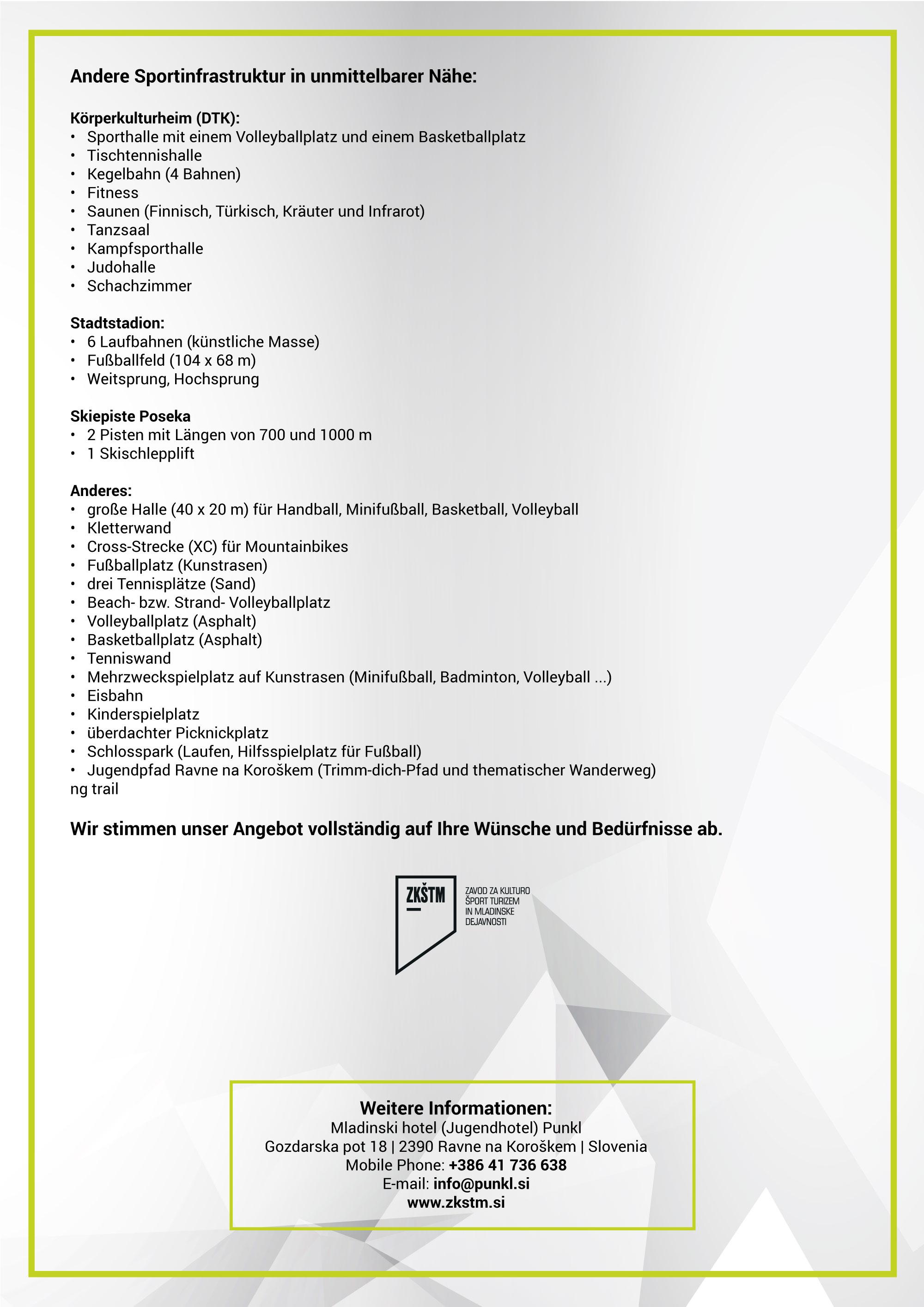 Спортске припреме 2020, прилог на немачком језику, страна 2