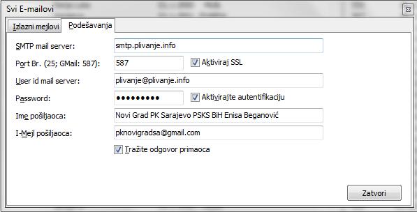 Подешавање параметара за слање мејлом