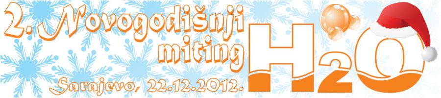 """Заштитни знак такмичења """"Новогодишњи митинг H2O 2012"""", Сарајево и линк на званични сајт клуба"""