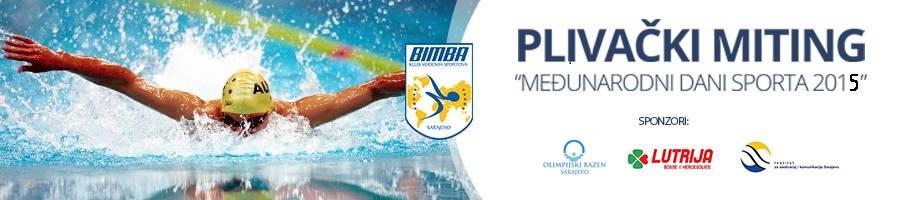 Plakat takmičenja, sa znakom plivačkog kluba Bimba iz Sarajeva i linkom na njihovu stranicu