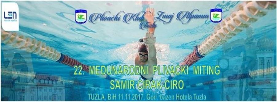 """Знак такмичења и пливачког клуба """"Zmaj-Alpamm"""" из Тузле и линк на њихову званичну страницу"""