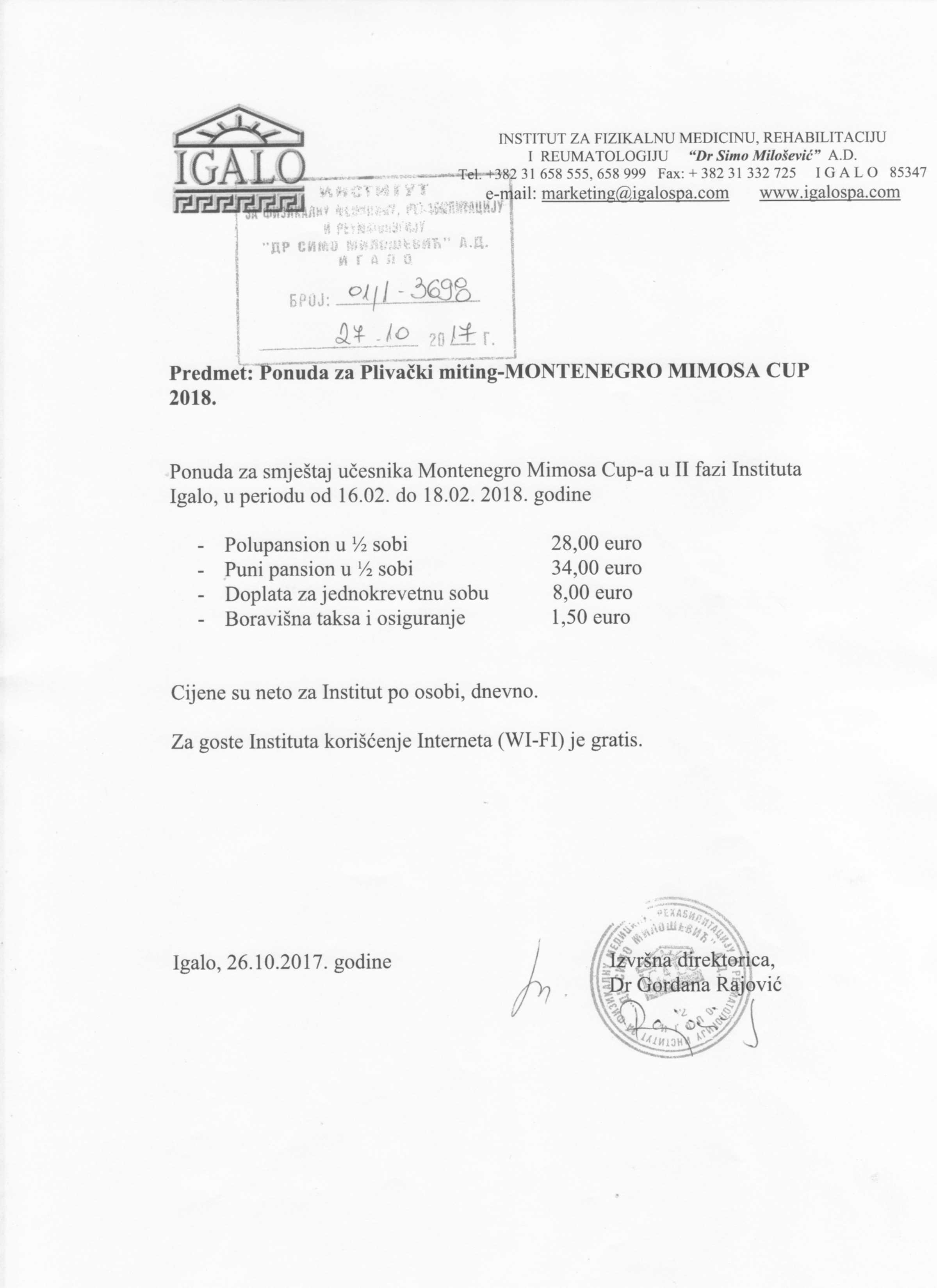 Информације о смјештају на језику организатора