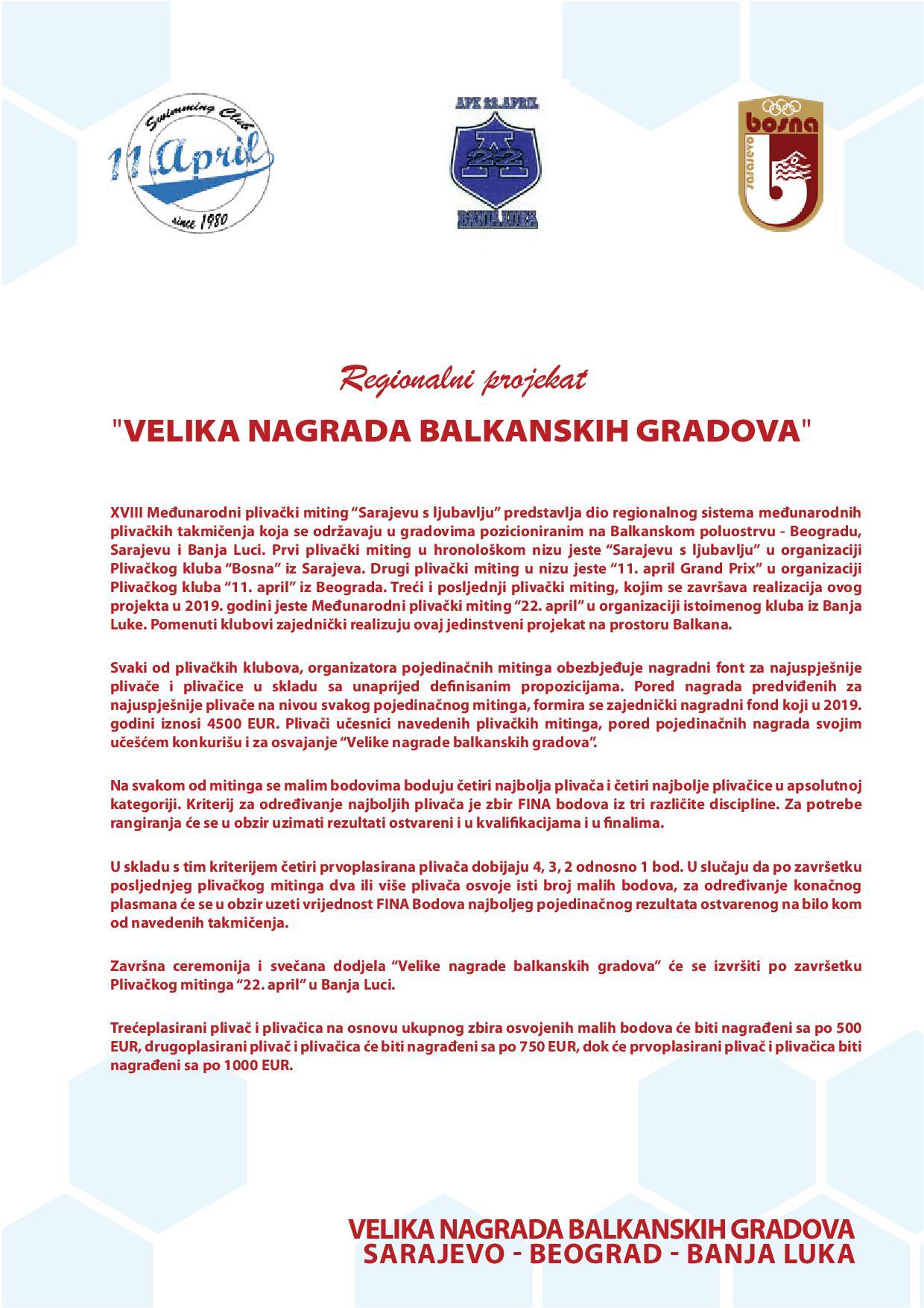 Пропозиције Велике награде балканских градова