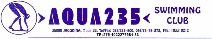 """Знак пливачког клуба """"Aqua 235"""" и датог такмичења"""