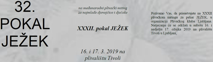 32. Pokal Ježek 2019 (SLO) / 32. Јежек куп 2019 (SLO)