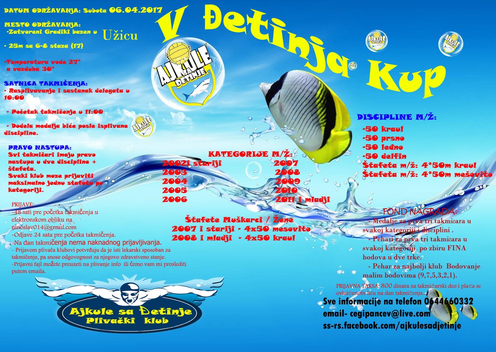 Знак пливачког клуба Ајкуле са Ђетиње из Ужица и линк на њихову званичну Facebook страницу